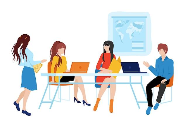 Banner web orario di lavoro con il team.un gruppo di persone che lavorano insieme su un unico vettore di progetto.