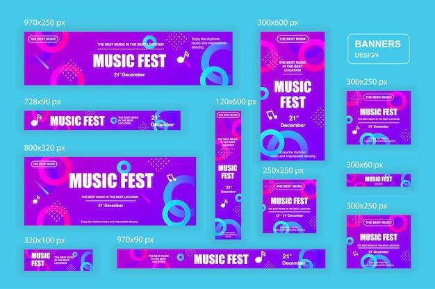 Banner web di diverse dimensioni per social network e materiale di marketing per annunci di acquisto