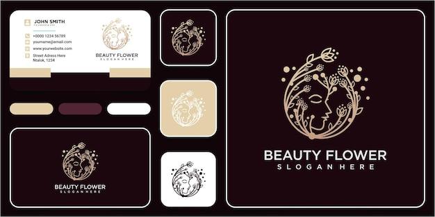 Web bellezza viso fiore logo design ispirazione con biglietto da visita. disegno del logo del viso del fiore
