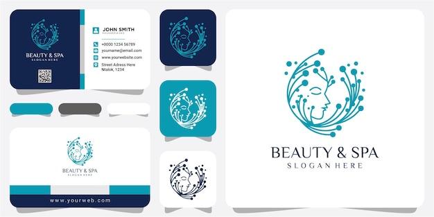 Web beauty face spa e concetto di design del logo del salone. modello di progettazione del logo della molecola del viso di bellezza con biglietto da visita