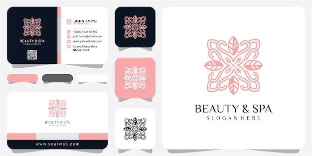 Modello di progettazione del logo di bellezza e spa web. disegno del logo del fiore. design del logo del salone