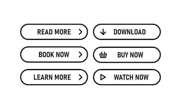 Icona dei pulsanti web in nero. leggi di più, scarica, acquista ora. vettore env 10. isolato su priorità bassa bianca.