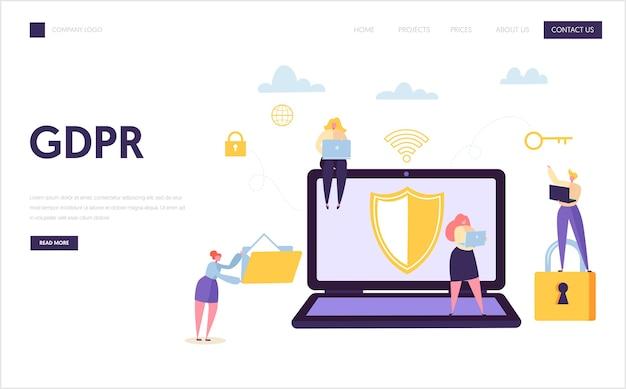 Pagina di destinazione della sicurezza internet dei dati web