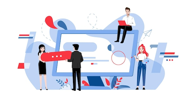Concetto di web design. team creativo di persone sta realizzando un web design.