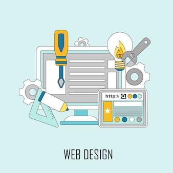 Concetto di web design: pagina web ed elementi di design in stile linea