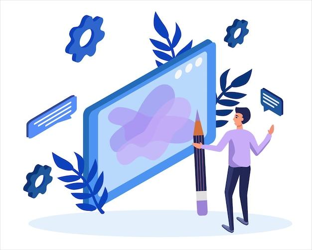 Creazione web design. promozione della ricerca per contenuti seo o marketing.