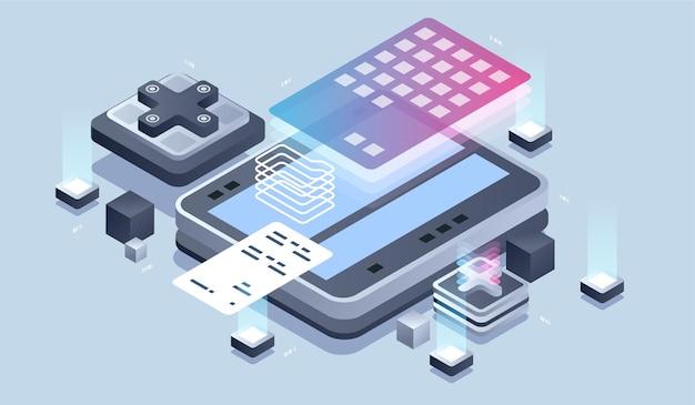 Web design e sviluppo. sviluppo di applicazioni mobili, programmatore e illustrazione isometrica di ingegneria.