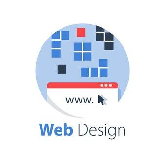 Web design, tecnologia internet, sviluppo software, servizi di hosting, soluzione online, illustrazione