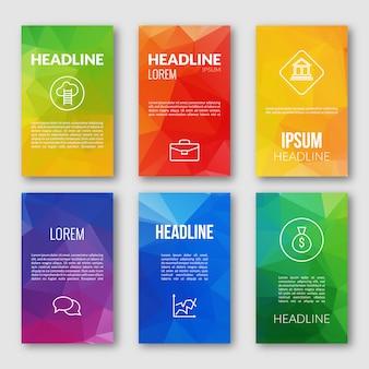 Modello di web design set, banner triangolari di affari