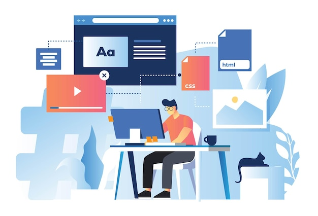 Web designer che sviluppa tecnologia front end