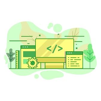 Illustrazione moderna di colore verde piano dello sviluppatore di web