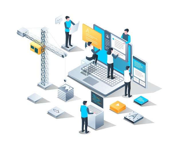 Sviluppatore web e ottimizzazione seo nella progettazione isometrica
