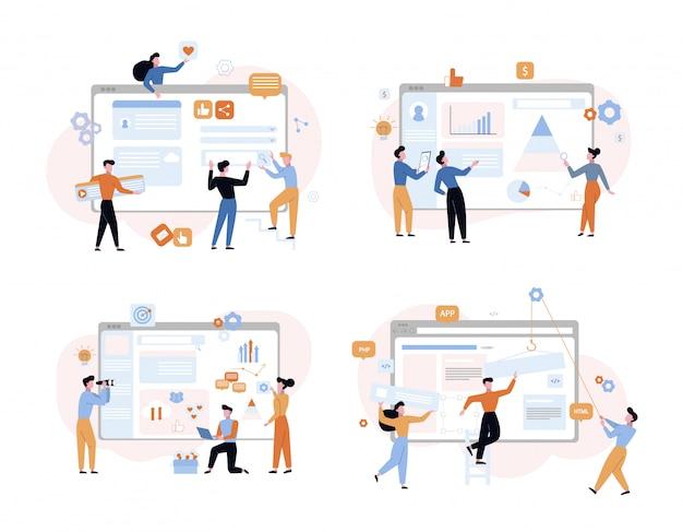 Set di illustrazioni vettoriali di sviluppo web e analisi