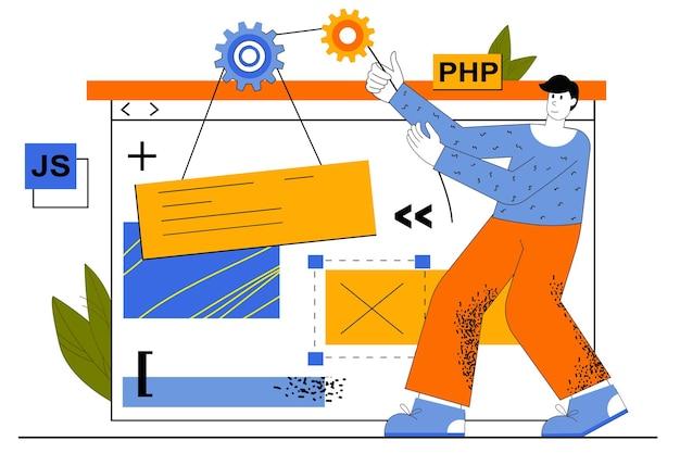 Concetto di sviluppo web. lo sviluppatore crea il layout del sito, la programmazione in diverse lingue, posiziona i pulsanti, gli elementi di navigazione.