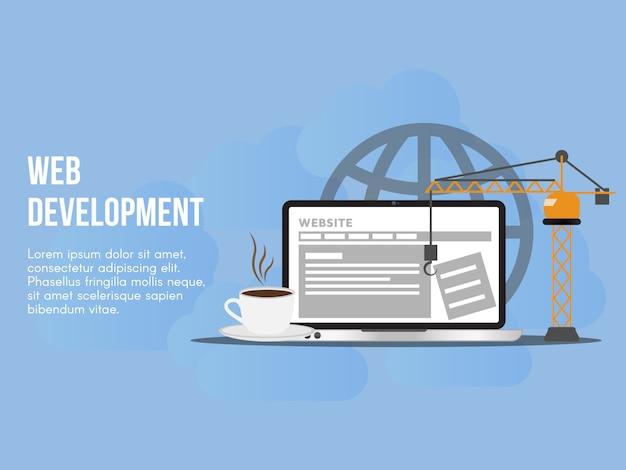 Modello di progettazione di vettore dell'illustrazione di concetto di sviluppo di web