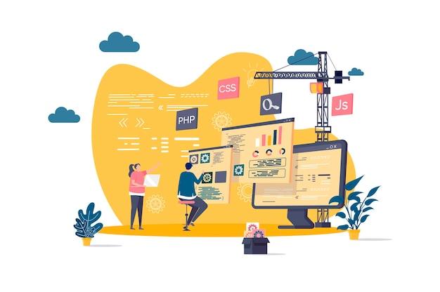 Concetto piatto di sviluppo web con illustrazione di personaggi di persone