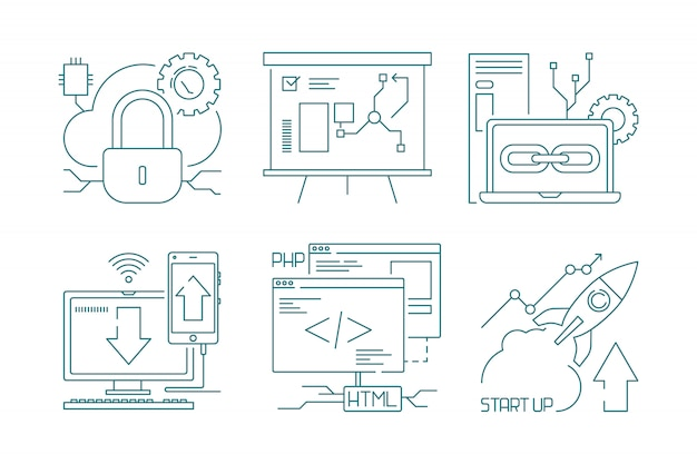 Icona di sviluppo web e ricerca di simboli di concetto di produzione web degli sviluppatori di codice e vettore di seo