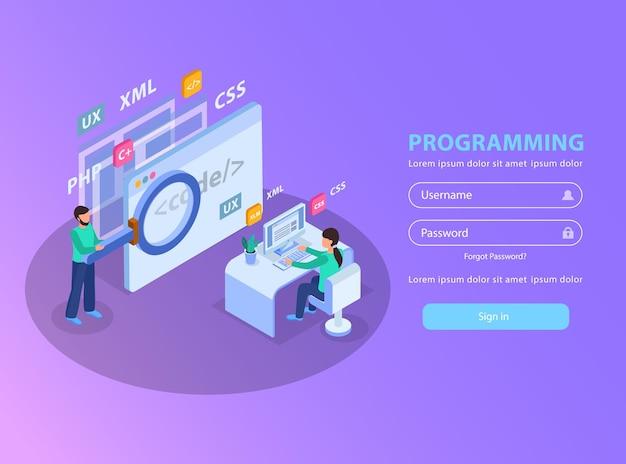 Illustrazione di concetto isometrico di sviluppo web