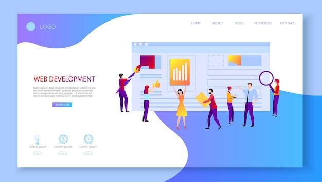 Sviluppo web modello di pagina di destinazione con persone che creano siti web tecnologie informatiche supporto tecnico programmazione e progettazione di applicazioni web
