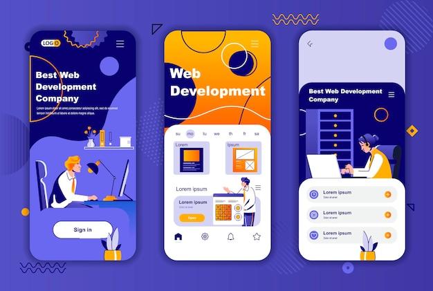 Modello di schermate per app mobili di sviluppo web per storie di social network