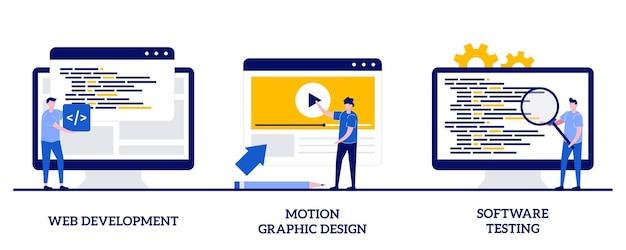 Sviluppo web, motion graphic design, concetto di test del software con persone minuscole