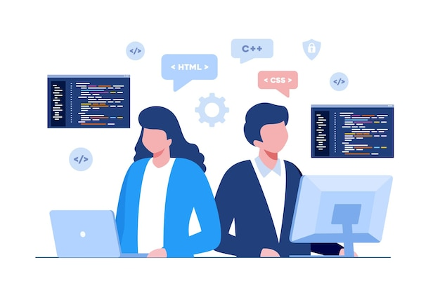 Sviluppo web. linguaggi di programmazione. css, html, it, ui. sito web di sviluppo di personaggi dei cartoni animati del programmatore, codifica. banner illustrazione piatta
