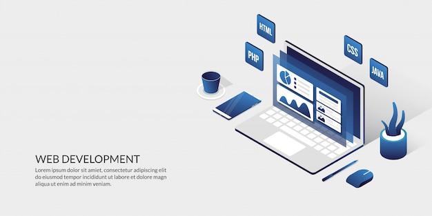 Sviluppo web e concetto di design dell'interfaccia utente, strumenti di sviluppo di siti web isometrici