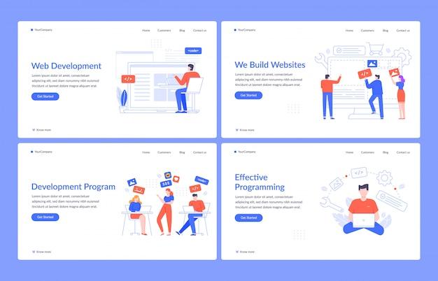 Sviluppo web. modello di pagina di destinazione per sito web, ingegneria del codice e interfaccia creativa. layout della homepage di programmazione e programmazione. ui, ux, usabilità. gestione dei contenuti