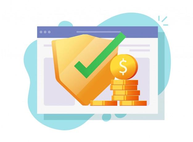 Garanzie online di protezione finanziaria di assicurazione di denaro digitale web