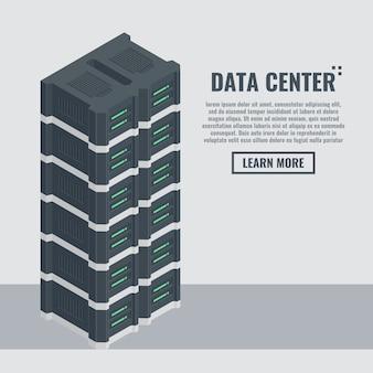 Banner di hosting web in stile isometrico. sala rack del server