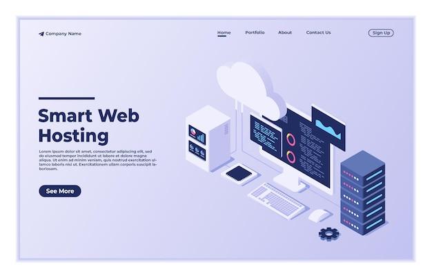 Concetto di web hosting cloud computing tecnologia di database online sicurezza computer web data center