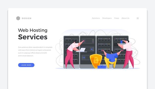 Banner della home page dei servizi di web hosting. specialisti in software e sicurezza online configurano server di dati. connessione internet sicura e sistema di archiviazione dei dati dell'utente con modello vettoriale di backup.