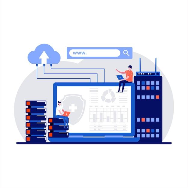 Web hosting con utenti e sviluppatori che utilizzano l'archiviazione dei dati dei server webhost e l'accesso remoto al database in design piatto