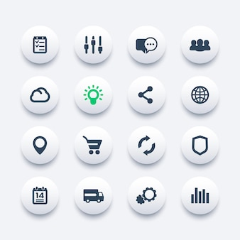 Set di icone web, internet, e-commerce, shopping, comunicazione, affari, analisi