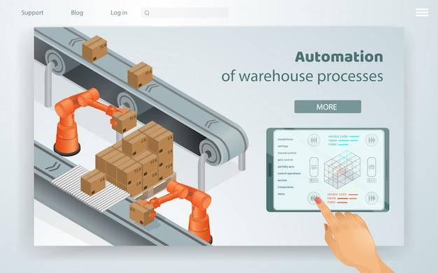Processi di magazzino di automazione di illustrazione web.