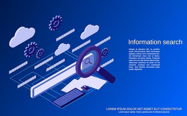 Illustrazione di concetto di vettore isometrico 3d piatto di ricerca di informazioni web