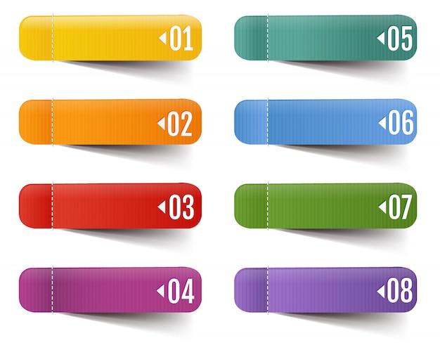 Web etichette grande insieme isolato con maglia di gradiente