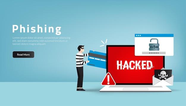 Modello di pagina di destinazione web del concetto di criminalità informatica. attacco di phishing con password e furto di dati