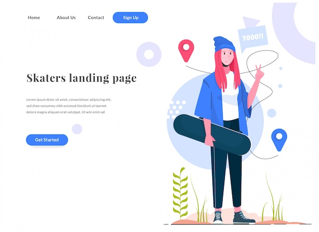 Pattinatori donna pagina di destinazione web