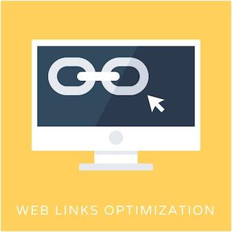 Icona di vettore piatto ottimizzazione web link