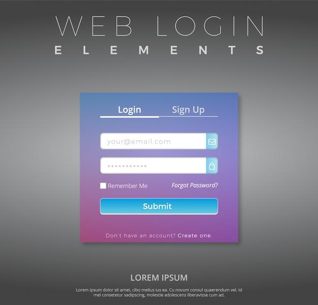 Modello di login web con disegno viola