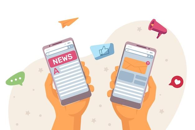 Notizie web e comunicazione online. illustrazione vettoriale piatto. due mani che tengono smartphone con notifiche e giornale online sullo schermo. social media, giornalismo, concetto di internet per il design
