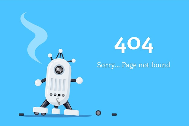 Pagina web 404. icona del robot rotto. pagina non trovata. illustrazione di stile piatto.