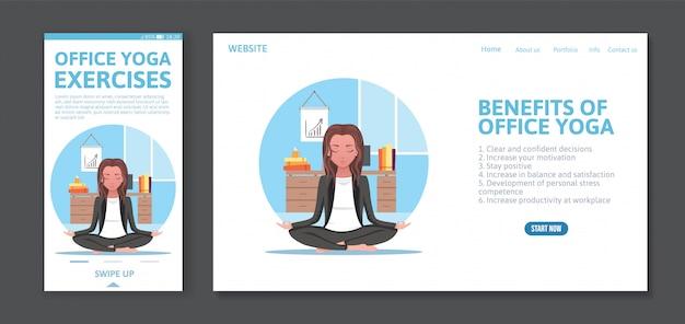 Il modello mobile di progettazione di app e della pagina web con la donna medita sul lavoro, concetto di yoga dell'ufficio