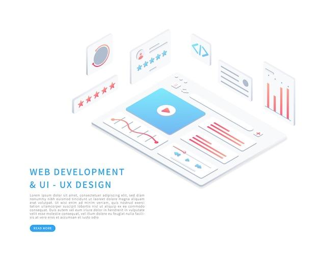 Progettazione dell'interfaccia della pagina web nell'illustrazione vettoriale isometrica progettazione web e concetto di sviluppo web ottimizzazione dell'interfaccia utente illustrazione vettoriale