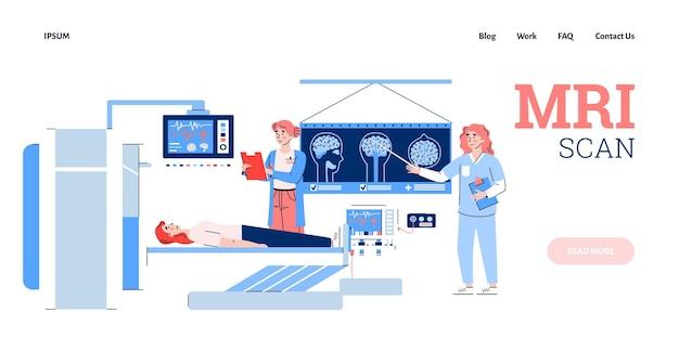 Pagina web per l'illustrazione di vettore del fumetto piatto diagnostico mediale di scansione mri
