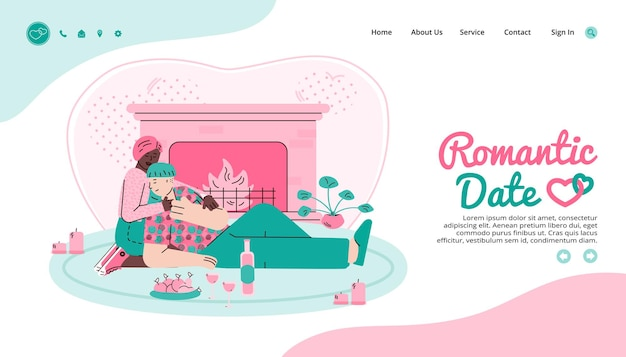 Pagina web per un appuntamento romantico e un'illustrazione vettoriale del fumetto del sito di incontri virtuali