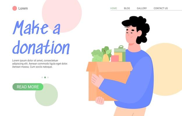Modello di pagina web per donazione e beneficenza con l'uomo che dona cibo ai poveri