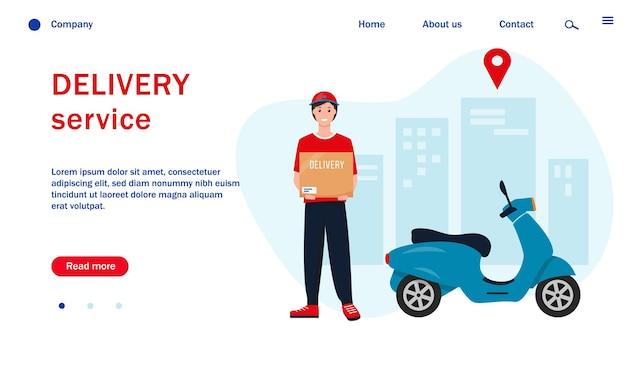 Modello di pagina web con fattorino con scooter in città.