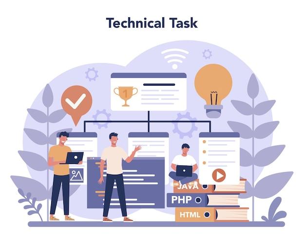 Concetto di programmazione web in design piatto